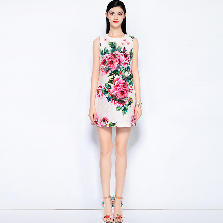 As Show Rose Designer Doux D'été Haute 2018 Imprimer Perles Pistes Nouveau S542 Jacquard Manches Picture Robe Qualité Zq5x6w5p