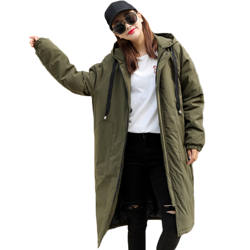 2018 Winter New Women Long style Trench Cotton Coats Solid outwear casual hooded Loose Long sleeve