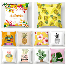 Fuwatacchi Plant Fruit Printed Cushion Cover Pineapple Potted Pillow Cactus  Decor Pillowcase Decorativos Para Sofa