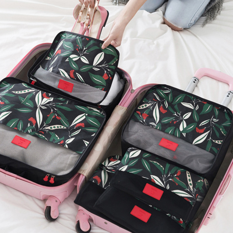six sets travel essential suitcase Finishing suit clothes packing bag waterproof portable women storage bags traveling bag garment bag