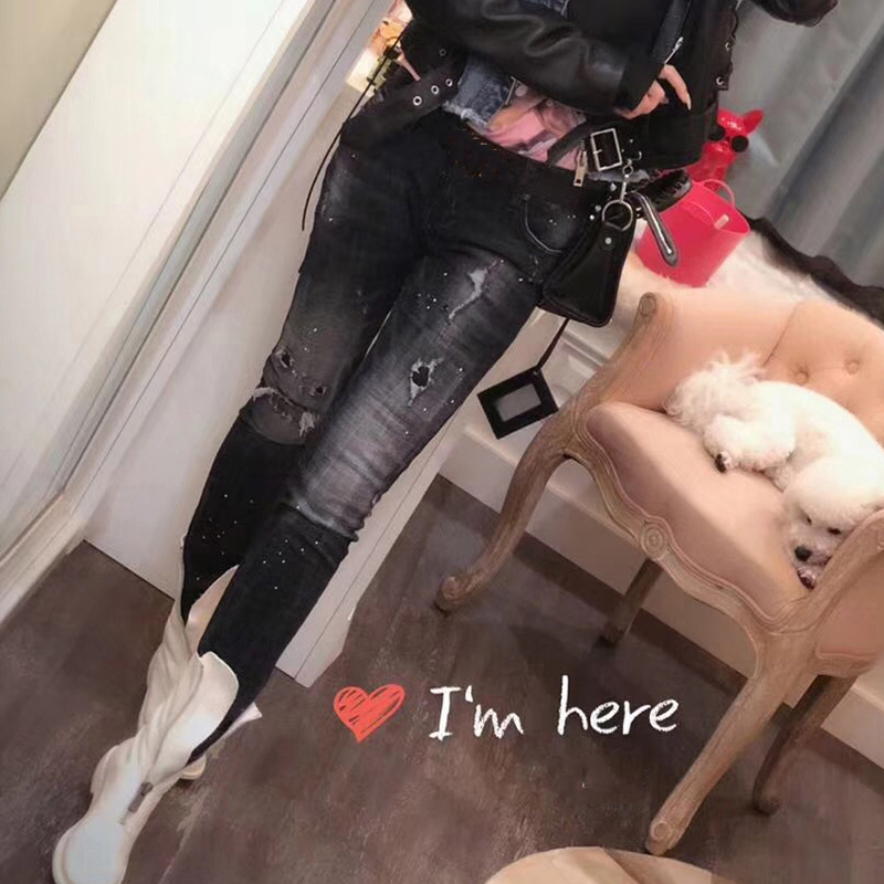 Denim Femmes Arrivée De 2018 Trou Jeans Slim Stretch Casual Mode Automne Pantalon Jean Nouvelle Noir Vêtements Femme w5qXXrE7