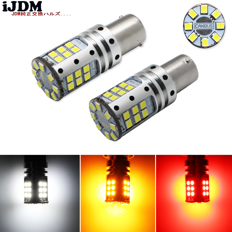 iJDM 1156 LED Canbus BA15S P21W S25 32 led 3030 Chips 6000K White Red Yellow Brake Lights Reverse Lamp DRL Car Tail Bulb,12V 1piece no polarity 10 30v p21w 12w cob chips led 1156 382 ba15s canbus alta potencia drl luz reversa reino unido 720lm