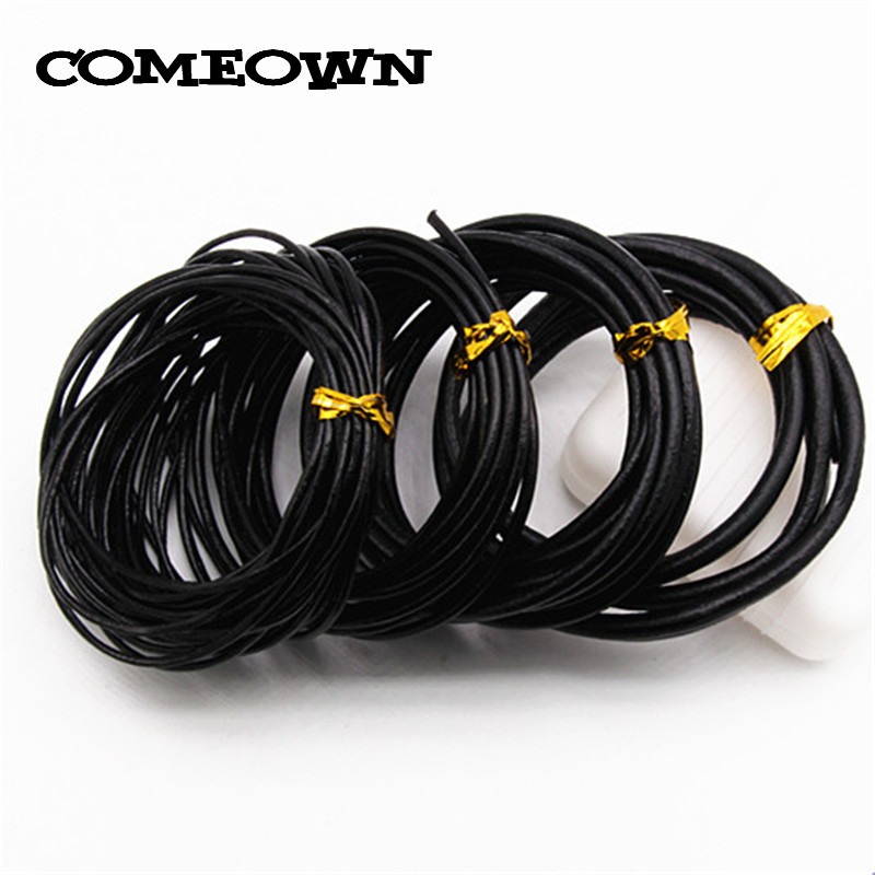 COMEOWN 5m Black Round Real Leather Cord 1mm 2mm 3mm 4mm Beading Rope String Cords Bracelet Necklace DIY Jewelry Making artificial leather rope round collarbone necklace