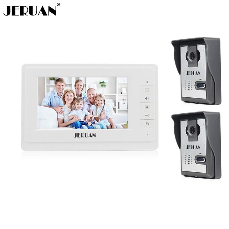 JERUAN 7 inch video door phone intercom system video doorphone doorbell speaker intercom 700TVL COMS Camera