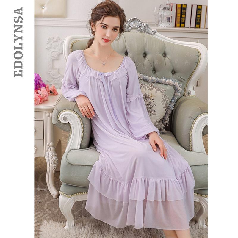 2123c6e939 Purple Lace Vintage Nightgown Long Sleeve Slash Ruffle Night Dress For  Wedding Princess Style Sleepwear Women Sleep Shirt T309-in Nightgowns    Sleepshirts ...