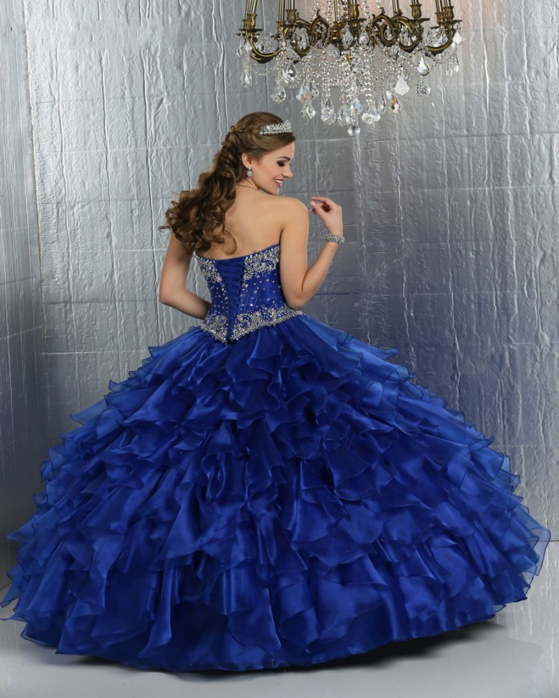 Noble Royal Blue Ball Gown Quinceanera Dresses 2015 Shiny Crystal ...