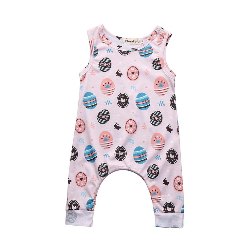Boys&Girls Unisex Rompers Happy Cotton Print Clothing Sleeveless Onepiece for Casual Active Sport Kids for Easter 18Apr2
