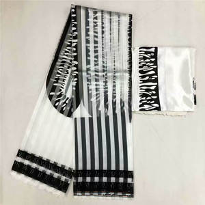 Image 5 - Hot sale Ghana Style satin silk fabric  with organza ribbon African wax design ! J52602
