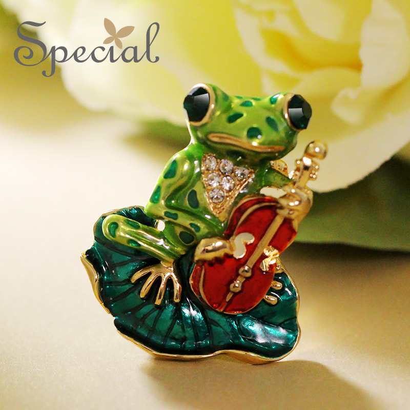 Special New Fashion Enamel Brooches Pin Lovely Frog Brooch Bouquet Animal Wedding Jewelry 2017 Gifts for Women S1611B