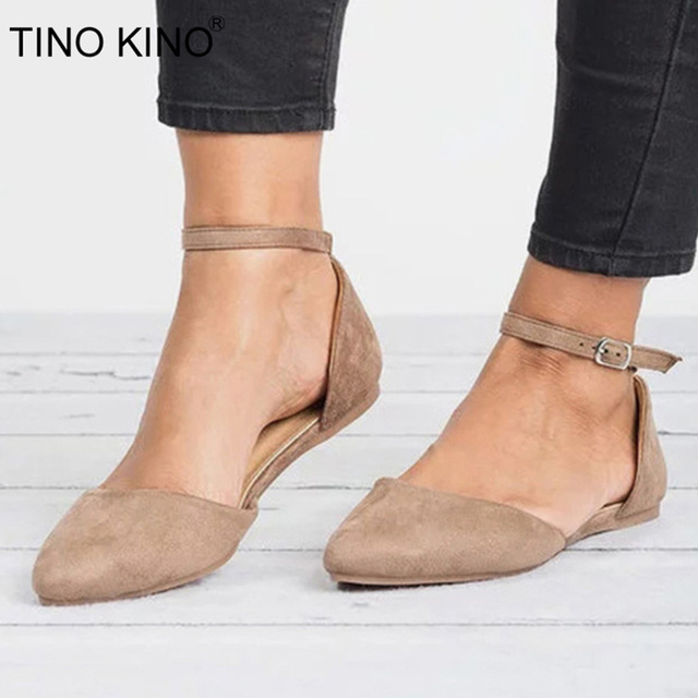 a405786f08 TINO KINO Autumn Flat Shoe For Women Plus Size Flock Low Heels Buckle Strap  Casual Ladies Footwear Fashion Gladiator Ballet Flat