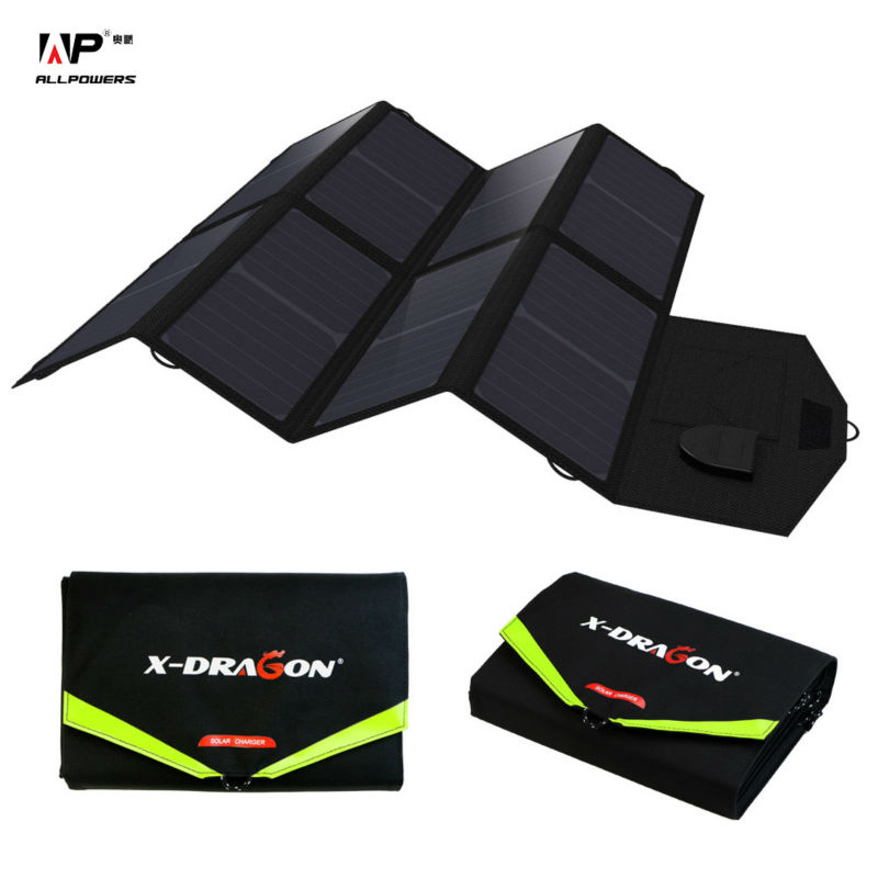 ALLPOWERS 5V 18V 40W Solar Charger Foldable Solar Panel Chargers Use at Outdoors Charge for iPhone Samsung iPad Tablet, Laptops.