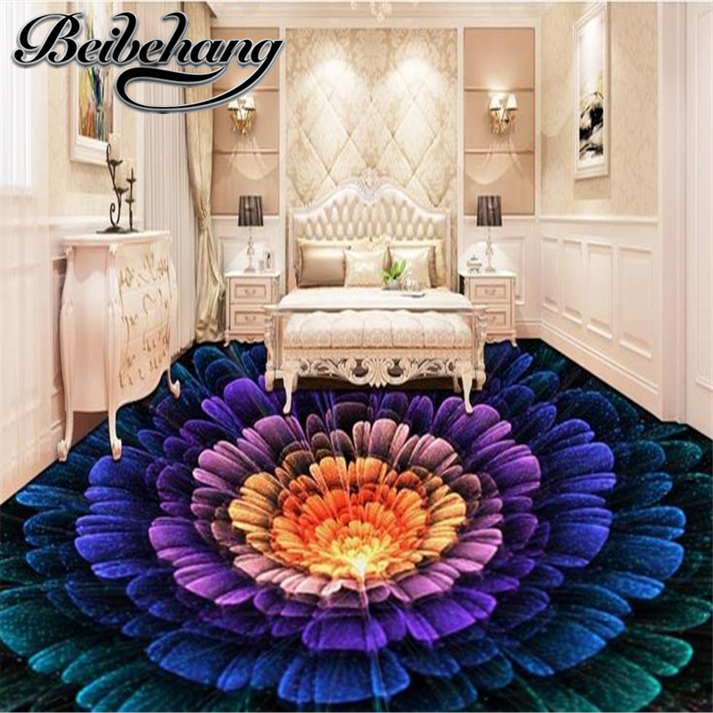 Beibehang Custom 3d Floor Colorful Flowers Waterproof Wallpaper For The Bathroom Floor Tile Adhesive Vinyl Film 3d Floor