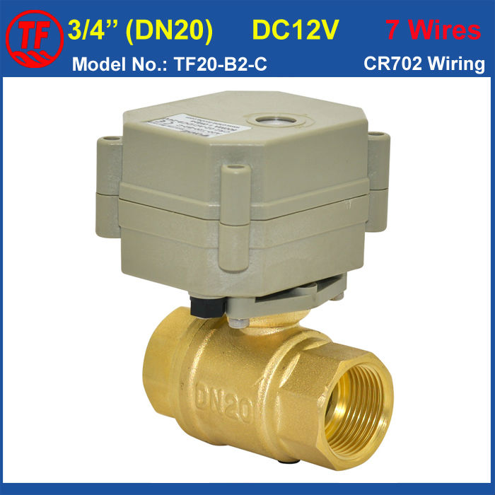 BSP/NPT 3/4'' Brass Electric Water Valve DC12V 7 wires 2 Way DN20 Full Port Motorized ball Valve With Position Indicator CE IP67 mini brass ball valve panel mountable 450psi with lever handle chrome plated malexfemale npt