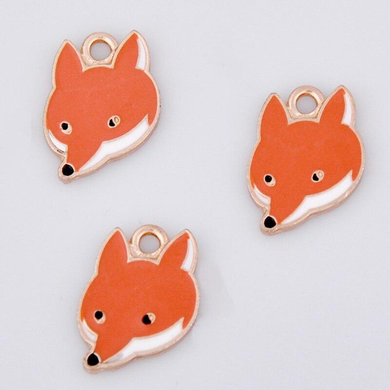 10 Stücke Diy Emaille Fox Charms Für Armband, Mode Metall Fuchs Tier Pferd Anhänger Ohrring Halskette Schmuck, Die Entdeckungen Profitieren Sie Klein