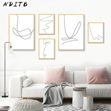 Abstract Line Canvas Poster Black White Wall Art Minimalist Print