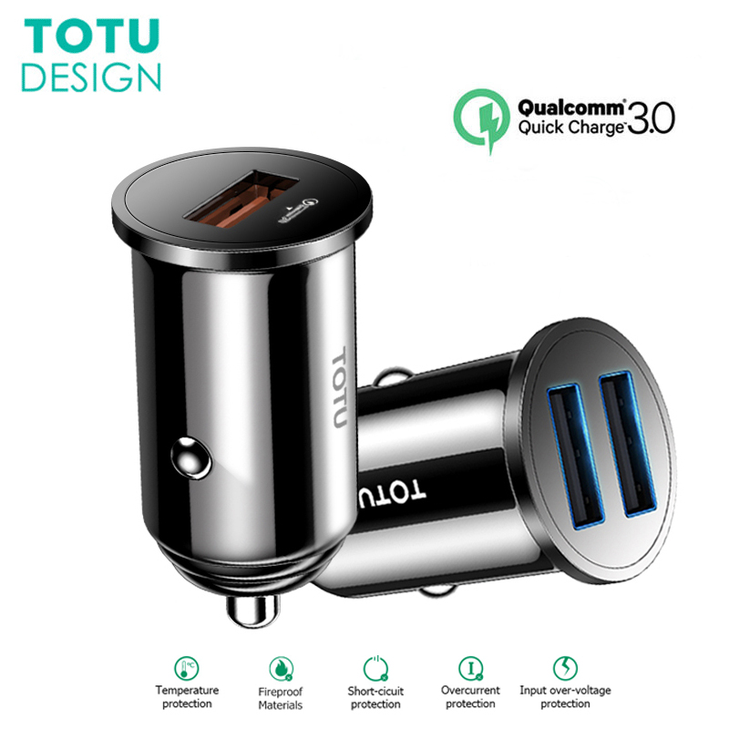 TOTU Dual USB <font><b>Car</b></font> <font><b>Charger</b></font> For iPhone 7 8 6 Samsung S10 QC 3.0 Fast Charging Intelligent <font><b>Power</b></font> Mobile Phone <font><b>Car</b></font> <font><b>Chargers</b></font> <font><b>Adapter</b></font> image