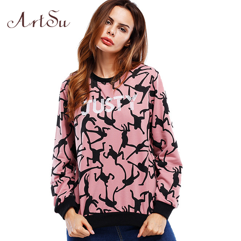 ArtSu Cartoon Print Cute Sweatshirt Letter Long Sleeve Women Hoodies Pullover Casual Harajuku Female Sweatshirt ASHO20032