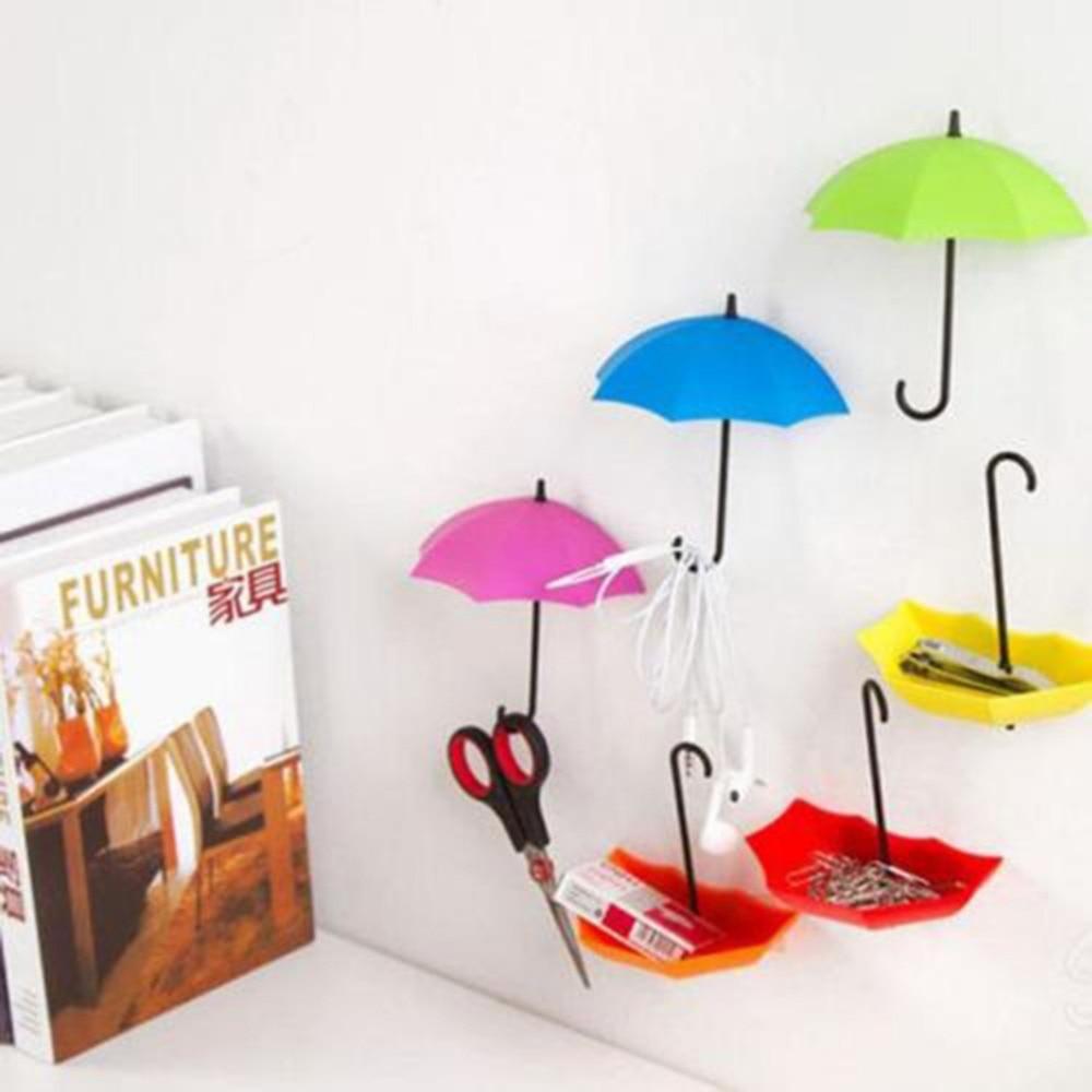 Home Supplies 3Pcs Umbrella Shape Clip Holders Cute Self Adhesive Wall Door Keys Clips School Office Sticky Holder 1.5*12*10.5cm