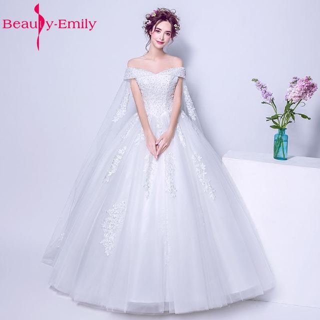 Beauty-Emily Luxury Pears Ball Gown White Plus Size Wedding Dresses with Cloak  Sleeveless Lace Up Bridal Dresses a5b159972326