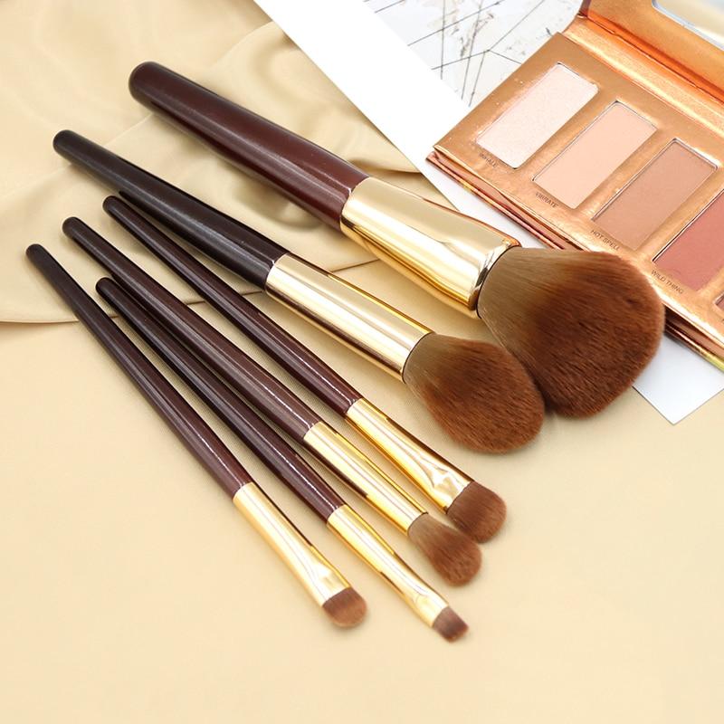 BBL 6pcs Chocolate Makeup Brushes Set Premium Synthetic Fiber Face Powder Blush Eyeshadow Soft Smokey Eye Brush Pincel Maquiagem