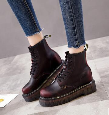 2017 autumn and winter new women's shoes increased Martin boots British style windbreaker platform thick women's boots fall trendboots in europe and america heavy bottomed martin boots british style high top shoes shoes boots sneakers