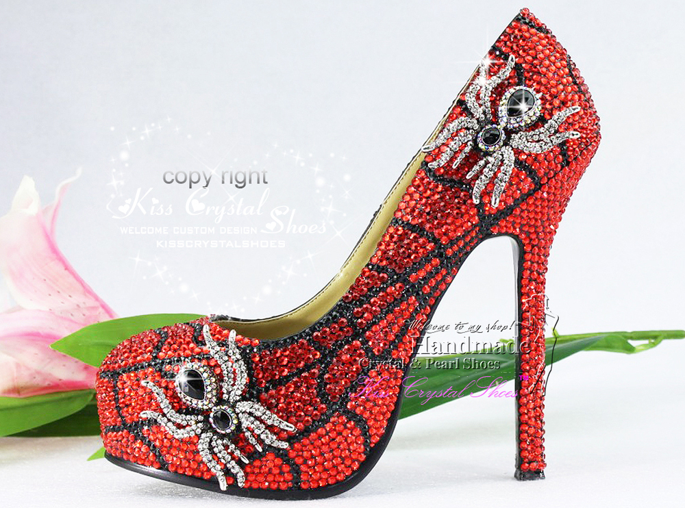96ae278a0c6 Unique Design High Heel red Crystal Spider Funky Wedding Bridal for evening  party