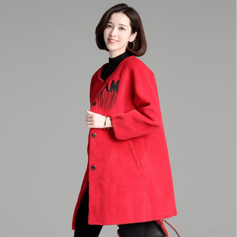 Womens'Fur Coat 2018 nový design dopis vzor Kožešinový kabát - Dámské oblečení