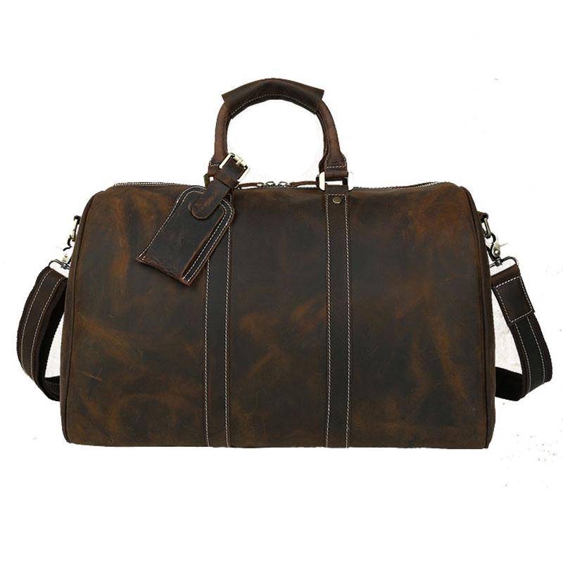 Travel Duffle Weekend-Bag Genuine-Leather Vintage Boston Big Brown Men 7002 Crazy Men's