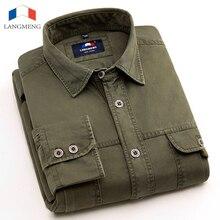 LANGMENG Marke Neue 100% Baumwolle Mens Casual Shirts Langarm Armee-grün outwear Hemd Männer Mode Kleidung Camisa Masculina