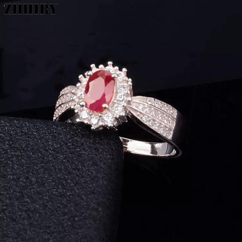 ZHHIRY Echte Natürliche Rubin Ring Echte 925 Sterling Silber Edlen - Edlen Schmuck - Foto 3