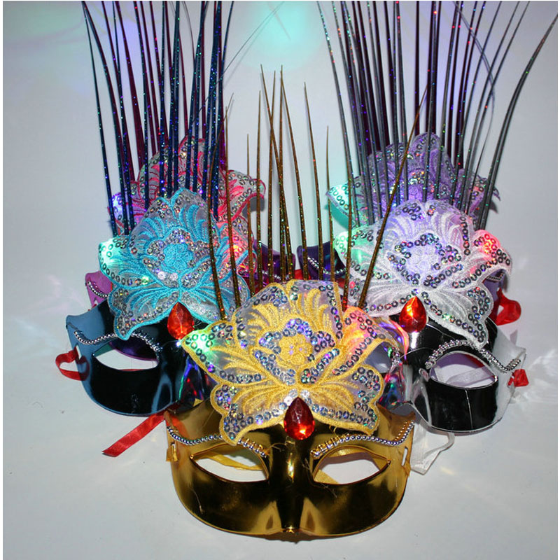 Rapture Women Peony Flower Led Flashing Mask Mardi Gras Masquerade Masks Cosplay Carnival Costumes Accessories Christmas Novelty & Special Use Kids Costumes & Accessories
