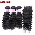 Gaga Hair 7A Grade Brazilian Virgin Hair With Closure 3pcs Brazilian Deep Wave Human Hair Weave Bundles With Lace Closures