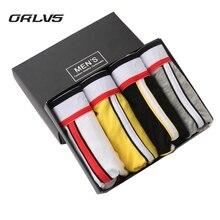 ORLVS Brand 5PC/LOT Men's Boxer Shorts Cotton Men Underwear Sexy Popular Male Panties 5 Colors Underpants Pouch Pants OR49