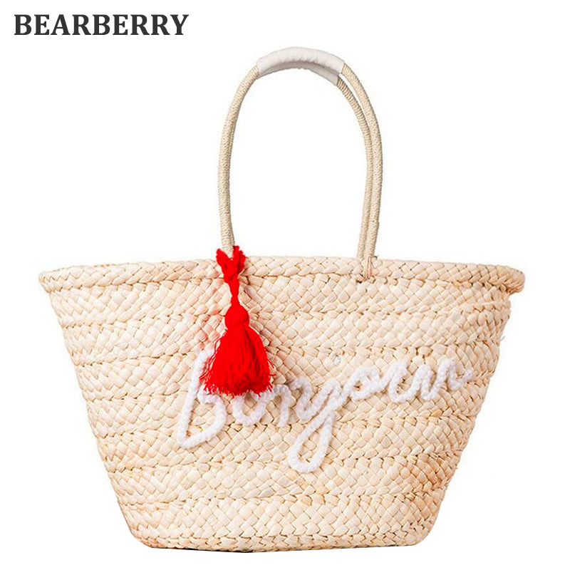 BEARBERRY 2017 Bohemian style Straw Summer Beach Handbags Casual Woven Travel Shoulder Bags Tassel Letter Women Shopping Totes handmade flower appliques straw woven bulk bags trendy summer styles beach travel tote bags women beatiful handbags