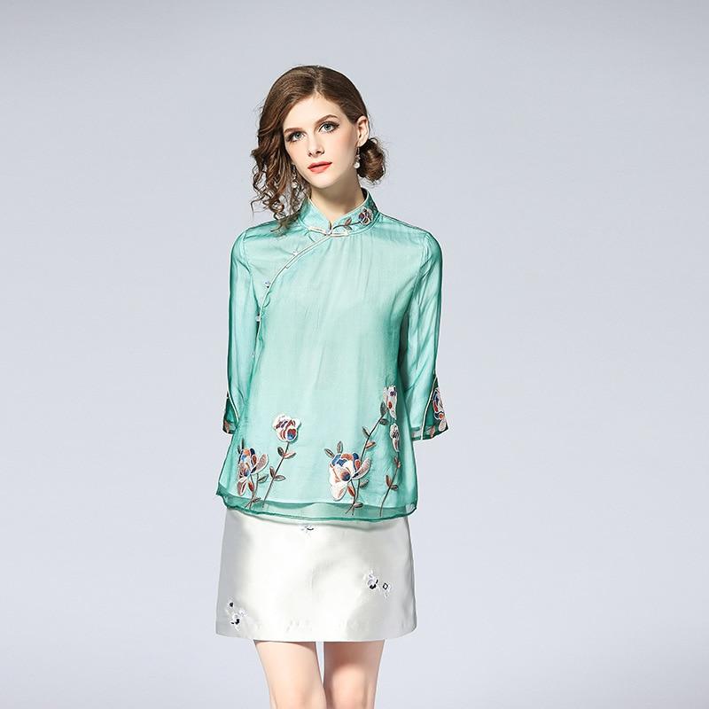 Elegant 2018 Embroidery Mesh Women Shirt Chinese Style High Quality Mandarin Collar Vintage Tops Female Summer