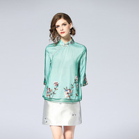 Elegant 2018 Embroidery Mesh Women Shirt Chinese Style High Quality Mandarin Collar Vintage Tops Female Summer Pullover