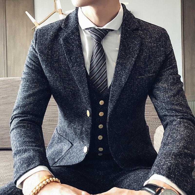 D'affaires Costumes Trois Automne 2017 Robe Jeunesse Mariage D'hiver Et Neige Costume pièce Angleterre Noir Est De Hommes Laine qX0wZd0R