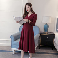 BONJEAN New Autumn Winter Maternity Clothes Nursing Dress For Pregnant Women Long Sleeve Pregnancy Dresses Breastfeeding Outfits