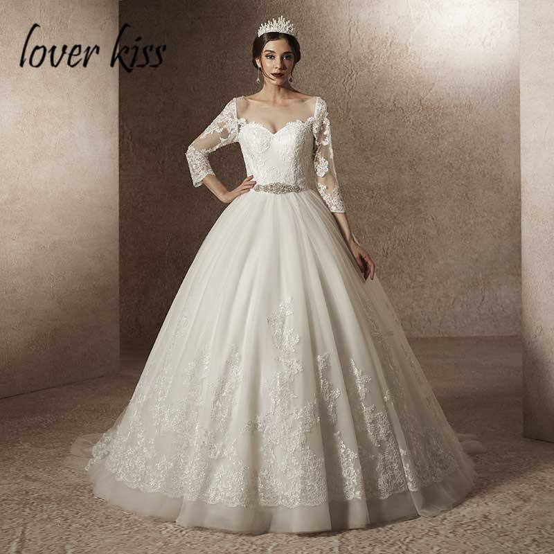 Lover Kiss Vestido De Noiva 2019 Princess 3 4 Sleeve Wedding Dresses Ball  Lace Bridal Gowns with Belt Customized robe de mariee-in Wedding Dresses  from ... 785cd667bb31