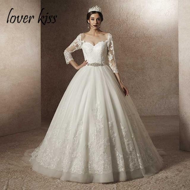 Lover Kiss Vestido De Noiva 2019 Princess 34 Sleeve Wedding Dresses