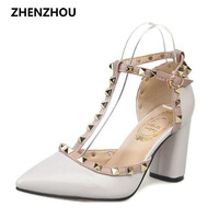 5CM 2016 Pumps New Shoes T Belt Buckle Hollow Rivets Pointed High Heeled Patent Leather High