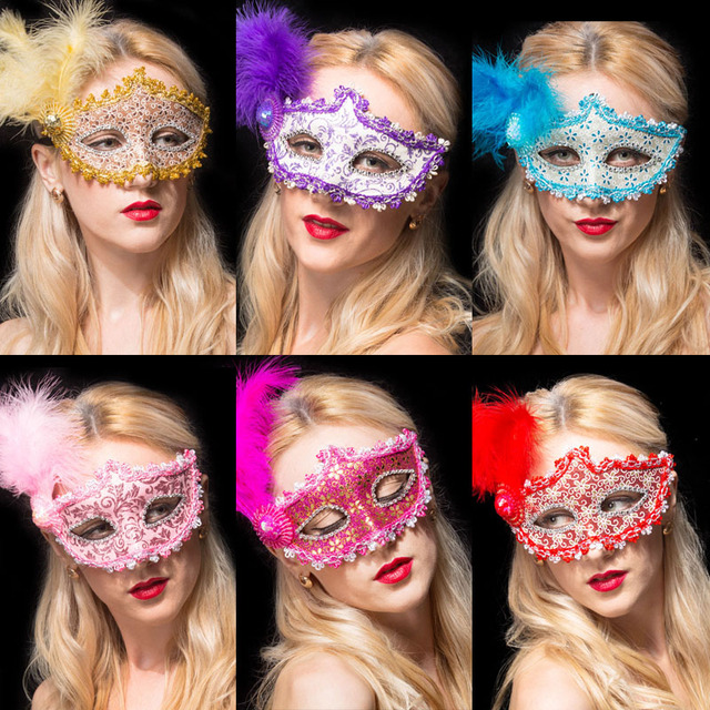 1pcs / Beautiful mask of Venice Gold leather feather mask Mask masquerade party princess wedding decoration Christmas Halloween