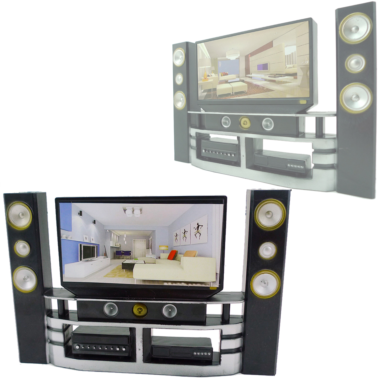Mini Hi-Fi 1:6 Living Room TV Home Theater Cabinet Set For Barbie Doll Clothes Dress Accessories House Furniture Child Toys