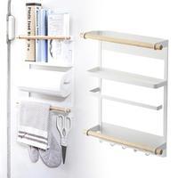 Multifunction 3 Layers cling film storage rack fridge magnet shelf paper roll towel holder kitchen Key Hooks accessories G30