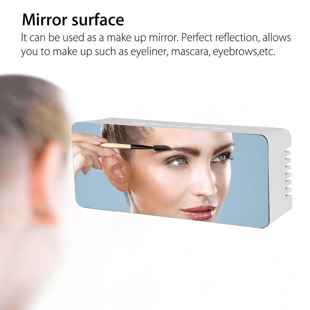 Mirror Alarm Clock with LED Screen Display and Built in Temperature Sensor for Watching Time and Makeup Application Used for Table Decoration 7