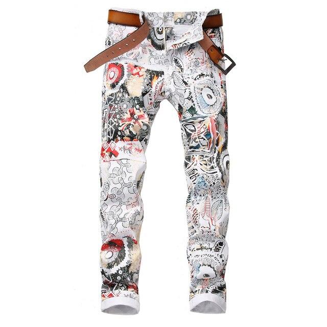 Sokotoo גברים של אופנה 3D עלה מודפס לבן ג ינס Slim fit למתוח מכנסי עיפרון