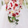 Свадебный Букет Свадебный Водопад стиль букет Увековечены Роуз букет Кот & Красный Невеста 'ы Букет настраиваемый