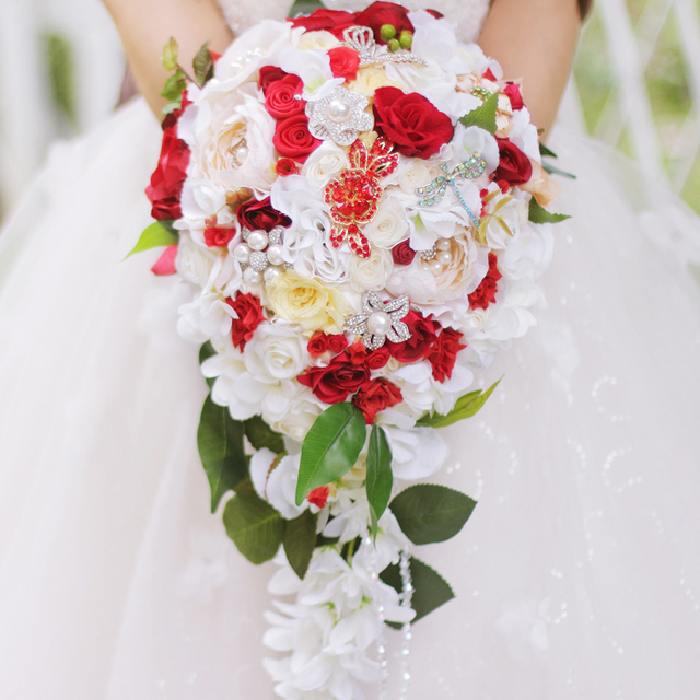 5a08706ce86 Wedding Bouquet Bridal Waterfall style bouquet Immortalized Rose bouquet  Ivory   Red Bride  s Bouquet