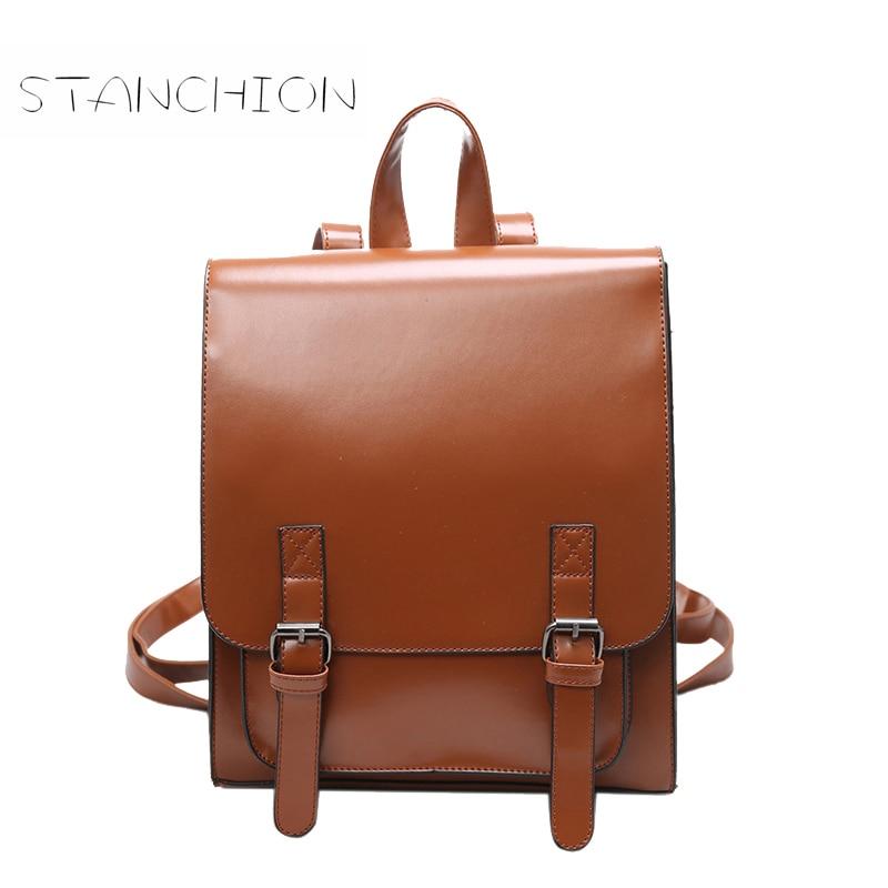 Backpack Female Leather Multifunction Ladies Shoulder Bag Daily Solid Vintage Mochila Escolar Retro Mochila Feminina