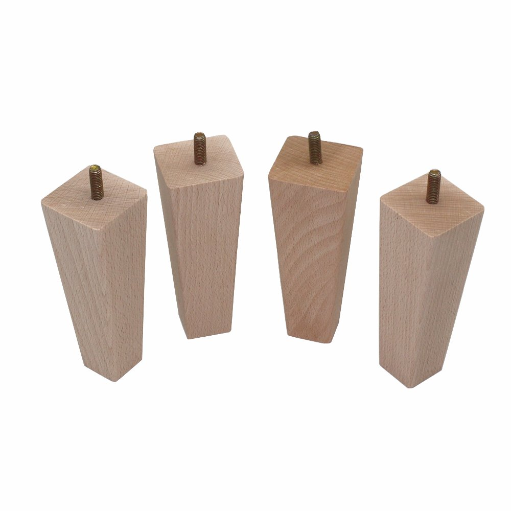 4Pcs 12cm  Tapered Solid Beech Wood Replacement Sofa Couch Loveseat Coffee Table Cabinet Wood Furniture Feet Furniture Wood Legs